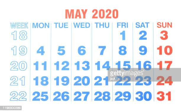 may 2020 month calendar - may stock pictures, royalty-free photos & images