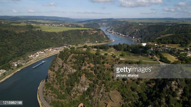 May 2020, Rhineland-Palatinate, St. Goarshausen: Bird's eye view of the Middle Rhine Valley around the Loreley Rock . Exactly five years after the...