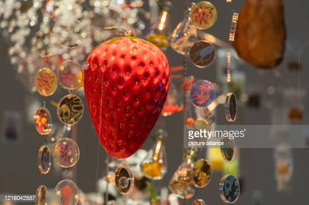 A plastic strawberry hangs over a festive table in the exhibition Future Food Eating for the World of Tomorrow in the German Hygiene Museum In three...