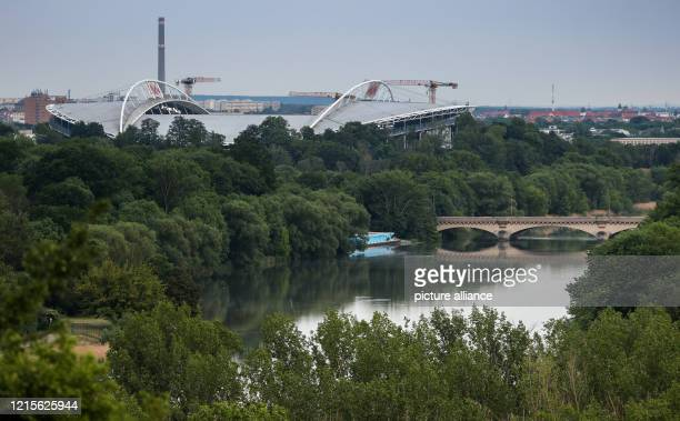 May 2020, Saxony, Leipzig: Football: Bundesliga, 28th matchday, RB Leipzig - Hertha BSC in the Red Bull Arena Leipzig. A view of the Red-Bull-Arena....