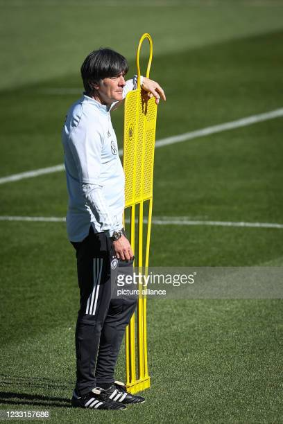 May 2021, Austria, Seefeld: Football: National team, start of training camp in Tyrol. National coach Joachim Löw is on the pitch. Photo: Christian...