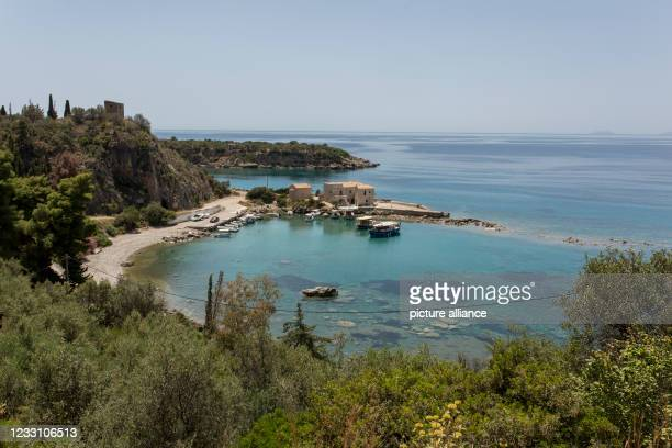 May 2021, Greece, Kardamyli: View of a small fishing harbor in Kardamyli, a seaside town thirty-five kilometers southeast of Kalamata, Peloponnese....