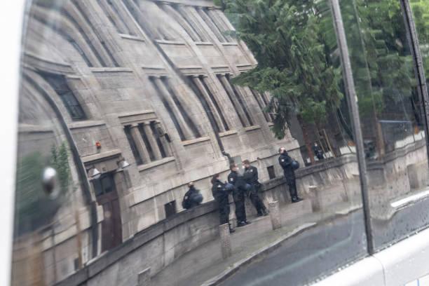 DEU: Police In Front Of Westend Synagogue In Frankfurt Main