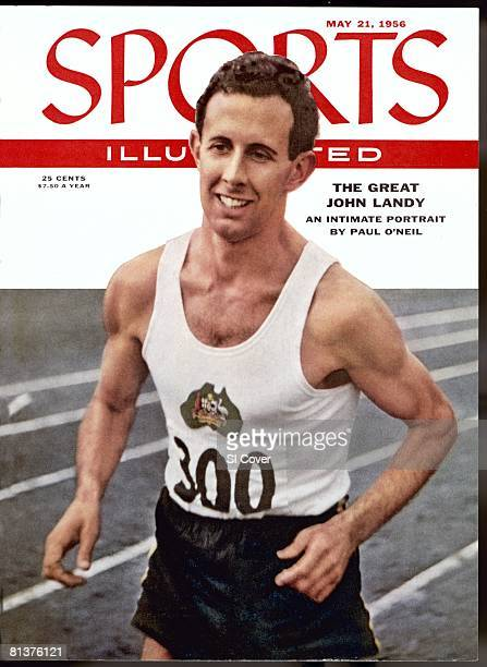 May 21 1956 Sports Illustrated via Getty Images Cover Track Field British Empire and Commonwealth Games Closeup of Australia John Landy in action...
