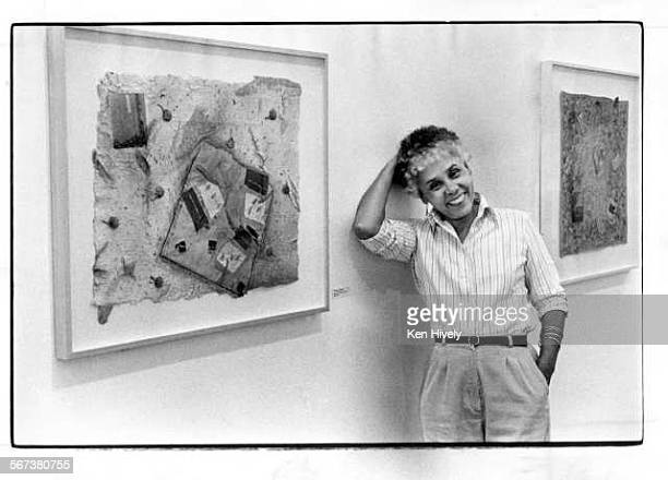 May 21 1981 – Artist Betye Saar with one of her new collages at Baum/ Silverman Gallery Published May 1981 Los Angeles Times via Getty Images File...
