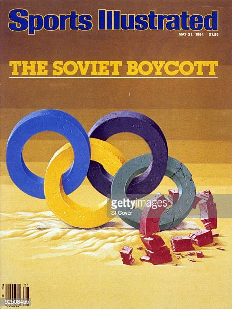 Olympics The Soviet Boycott Illustration of fractured Olympic rings after USSR boycott of Los Angeles Olympics painting by Art Department New York NY...