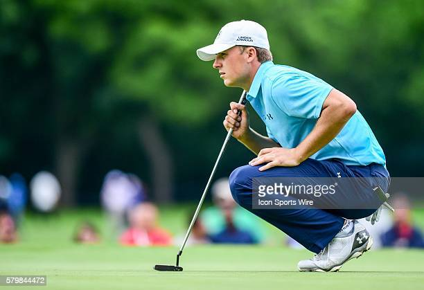 Jordan Spieth lines up a putt during first round action of the Crowne Plaza Invitational at Colonial in Ft. Worth, Texas.