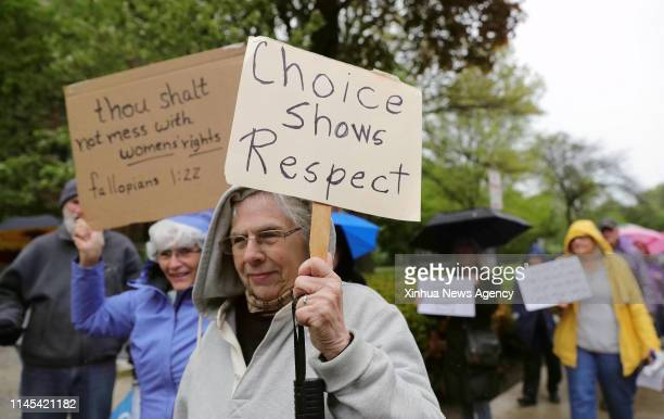 May 21, 2019 -- People participate in a protest against the abortion ban at Lorraine H. Morton Civic Center in Evanston, Illinois, the United States,...