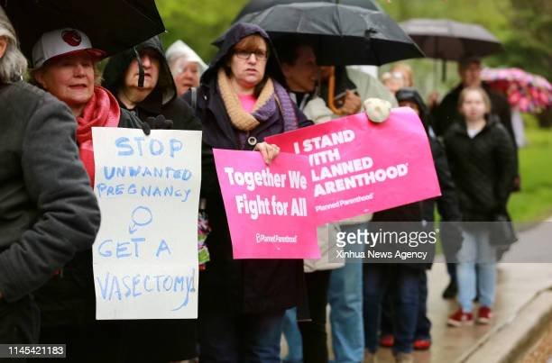 EVANSTON May 21 2019 People participate in a protest against the abortion ban at Lorraine H Morton Civic Center in Evanston Illinois the United...