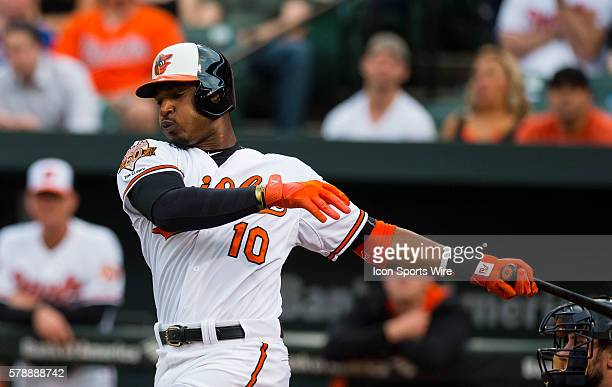Swing and a miss by Baltimore Orioles center fielder Adam Jones during a Major League Baseball game between the Baltimore Orioles and the Cleveland...