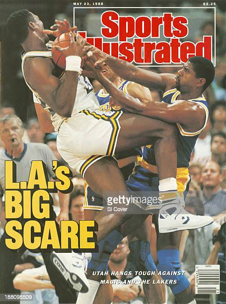 Basketball NBA Playoffs Utah Jazz Karl Malone in action getting rebound vs Los Angeles Lakers Magic Johnson and Mychal Thompson at The Salt Palace...