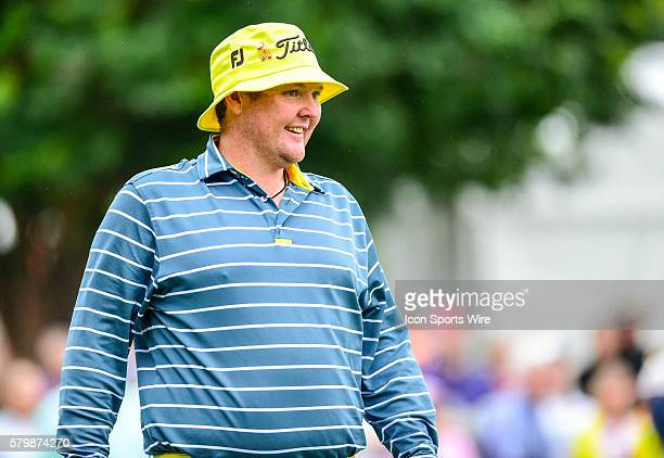 Jarrod Lyle reacts to tight bunker shot on during third round action of the Crowne Plaza Invitational at Colonial in Ft Worth Texas