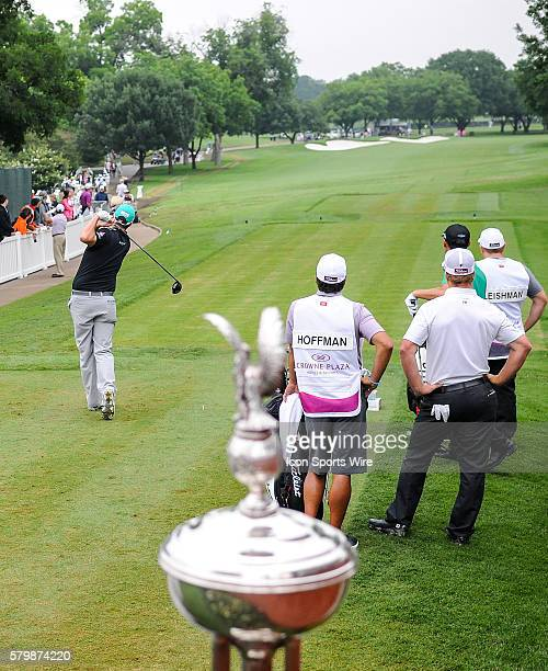 Marc Leishman tees off on during third round action of the Crowne Plaza Invitational at Colonial in Ft. Worth, Texas.
