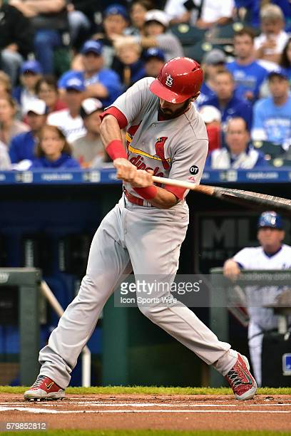 St Louis Cardinals' third baseman Matt Carpenter gets a base hit in the first inning during an MLB interleague game between the St Louis Cardinals...