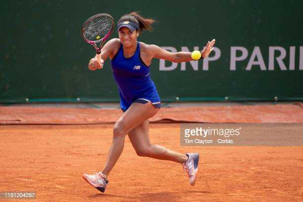 May 23 Heather Watson of Great Britain in action against Valentini Grammatikopoulou of Greece in the qualifying tournament at the 2019 French Open...