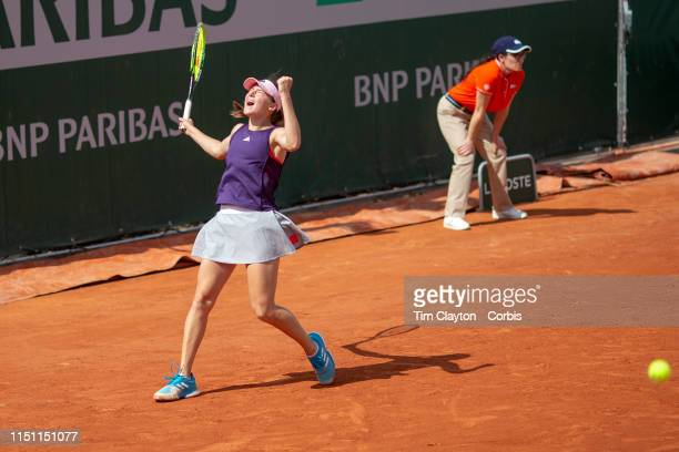 May 23. Kaja Juvan of Slovenia celebrates her win against Cori Gauff of the United States during their qualification match on court seven at the 2019...