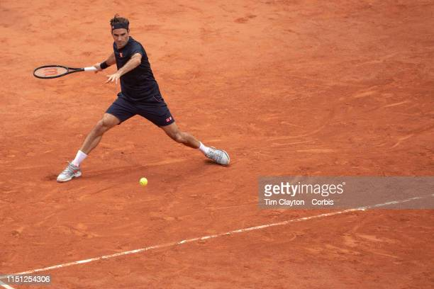 May 23 Roger Federer of Switzerland practicing on Court PhilippeChatrier in preparation for the 2019 French Open Tennis Tournament at Roland Garros...