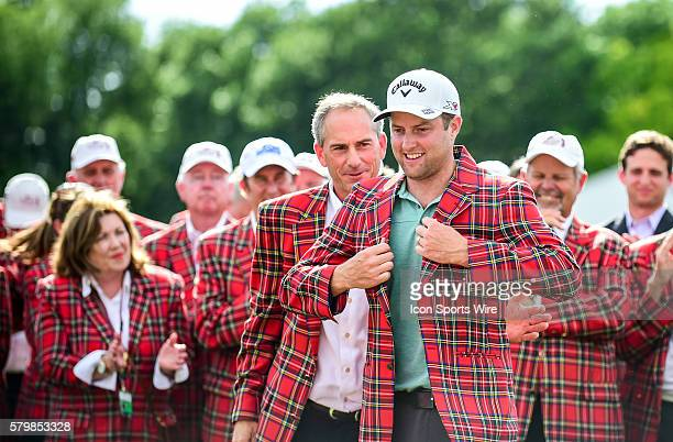 Chris Kirk dons the plaid jacket after winning the Crowne Plaza Invitational at Colonial in Ft. Worth, Texas.