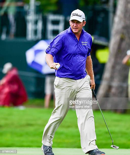 Jason Bohn reacts to sinking a par putt on during final round action of the Crowne Plaza Invitational at Colonial in Ft. Worth, Texas.