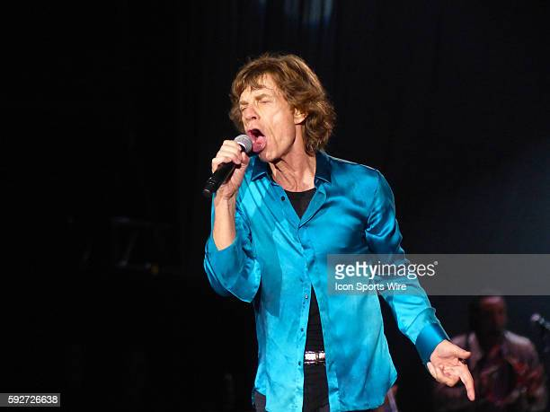 Lead singer Mick Jagger and the Rolling Stones perform kicking off their Zip Code Tour at Petco Park in San Diego California