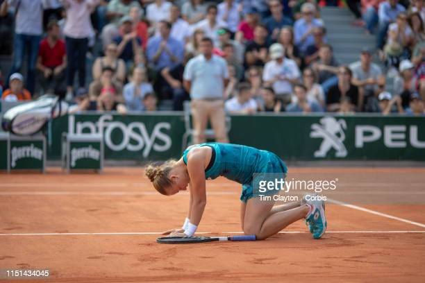 May 24 Anna Blinkova of Russia falls to the court to celebrate her victory against Julia Glushko of Israel in the qualifying Womenu2019s Singles...