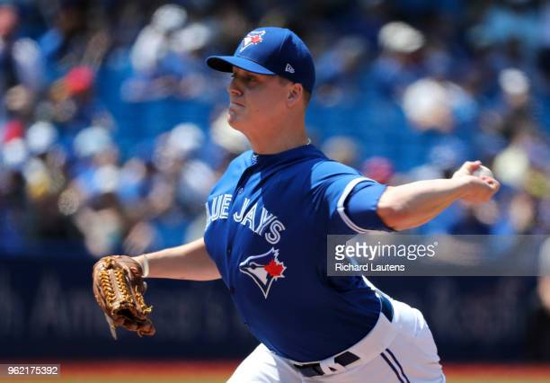 TORONTO ON May 24 Toronto Blue Jays relief pitcher Aaron Loup comes pitches in relief in the 5th The Toronto Blue Jays lost to the Los Angeles Angels...