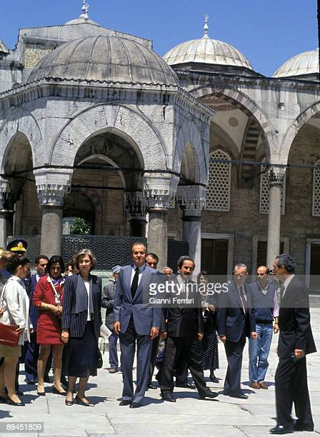May 25 1993 Istanbul Turkey Official visit of the King of Spain Juan Carlos and Sofia to Turkey In the image Kings visiting the Mosque of Sultan Hamed