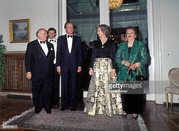 May 25 1993 Istanbul Turkey Official visit of the King of Spain Juan Carlos and Sofia to Turkey The Kings with the President Suleyman Demirel