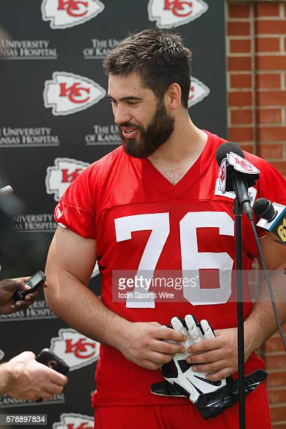 Offensive tackle Laurent DuvernayTardif speaks with the media during the Kansas City Chiefs rookie minicamp at the University of Kansas Hospital...
