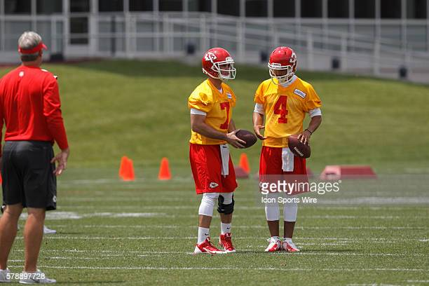 Quarterbacks Aaron Murray and Jonathon Jennings talk during the Kansas City Chiefs rookie minicamp at the University of Kansas Hospital Training...