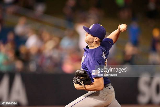 LSU Tigers pitcher Alex Lange started for the Tigers during the LSU Tigers versus the Florida Gators Second Round game of the SEC Baseball Tournament...