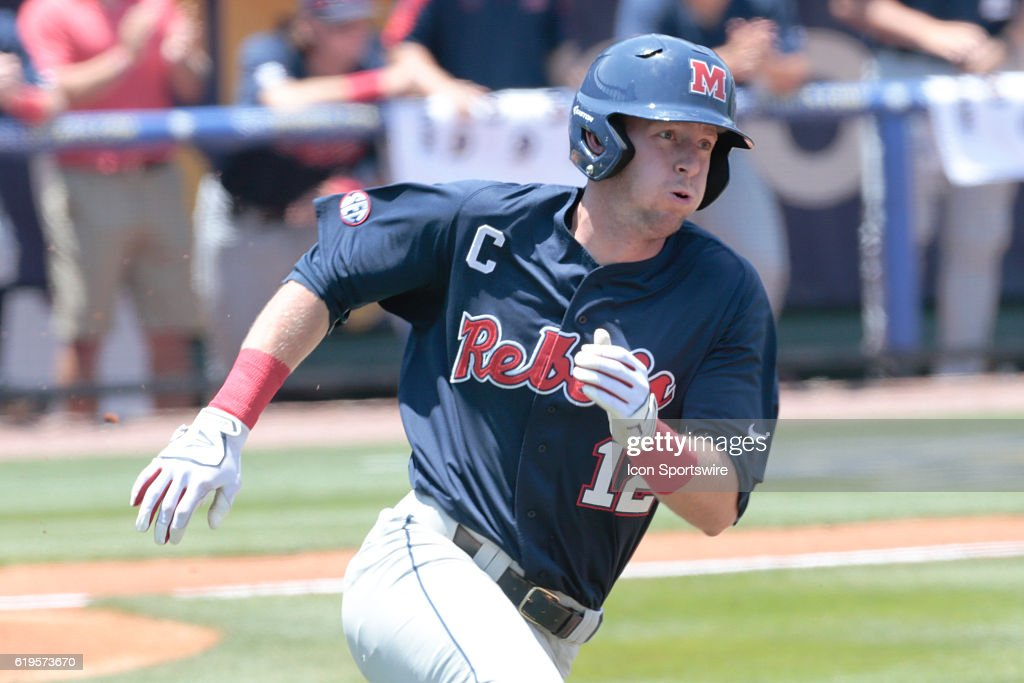 Ole Miss Rebels outfielder J.B. Woodman (12) during the Ole Miss Rebels versus the South Carolina Gamecocks Second Round game of the SEC Baseball Tournament at Hoover Metropolitan Stadium, Hoover, AL. (Photo by: Bobby McDuffie/Icon Sportswire via Getty Images).