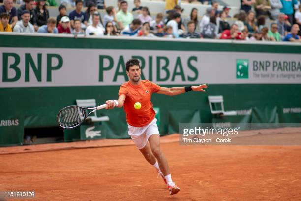 May 25. Novak Djokovic of Serbia training on Court Suzanne Lenglen in preparation for the 2019 French Open Tennis Tournament at Roland Garros on May...