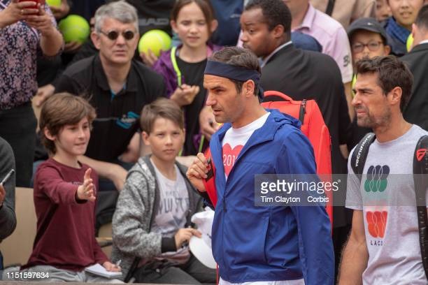 May 25 Roger Federer of Switzerland arrives for training on Court Suzanne Lenglen in preparation for the 2019 French Open Tennis Tournament at Roland...