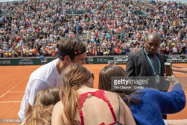 May 25 Roger Federer of Switzerland poses for a photograph after training on Court Suzanne Lenglen in preparation for the 2019 French Open Tennis...