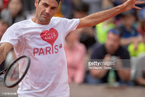 May 25 Roger Federer of Switzerland training on Court Suzanne Lenglen in preparation for the 2019 French Open Tennis Tournament at Roland Garros on...
