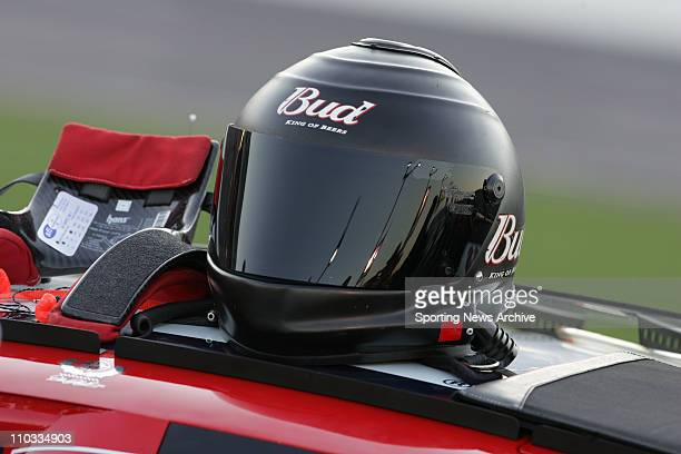 May 26 2005 Concord NC USA Dale Earnhardt Jr arthelmet during qualifying for the Nextel Cup CocaCola 600 on May 26 2005 at Lowe's Motor Speedway in...