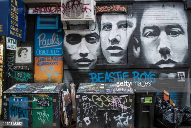 May 26 2019]: MANDATORY CREDIT Bill Tompkins/Getty Images Beastie Boys mural which shows all three members of the group and an RIP MCA message to...