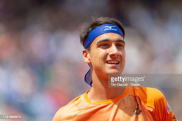 May 26 Lorenzo Sonego of Italy in action against Roger Federer of Switzerland on Court PhilippeChatrier in the Menu2019s Singles first round match at...
