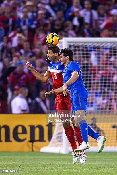 United States defender Omar Gonzalez and Azerbaijan midfielder Gara Garayev battle to get a head on the ball during the game between the US Men's...