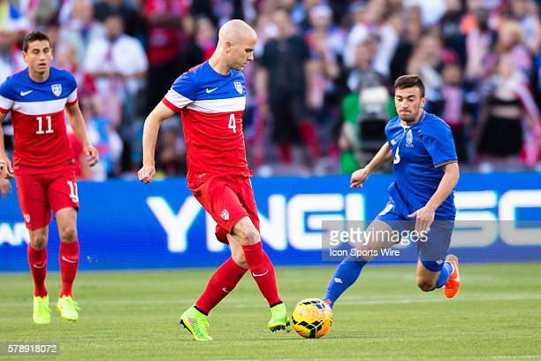United States midfielder Michael Bradley midfielder Michael Bradley passes the ball past Azerbaijan midfielder Gara Garayev during the game between...
