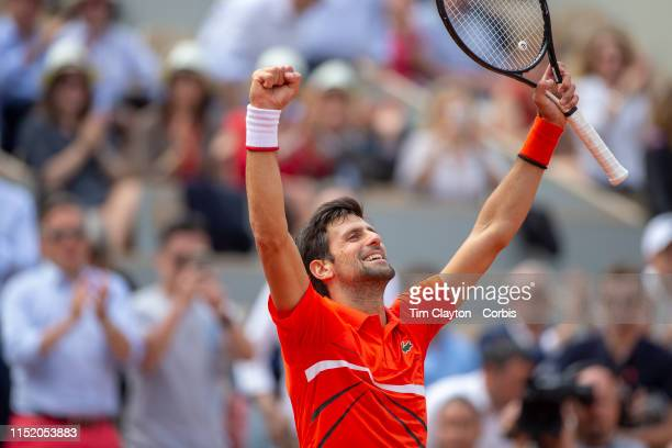 May 27 Novak Djokovic of Serbia in celebrates his victory against Hubert Hurkacz of Poland on Court PhilippeChatrier in the Menu2019s Singles first...