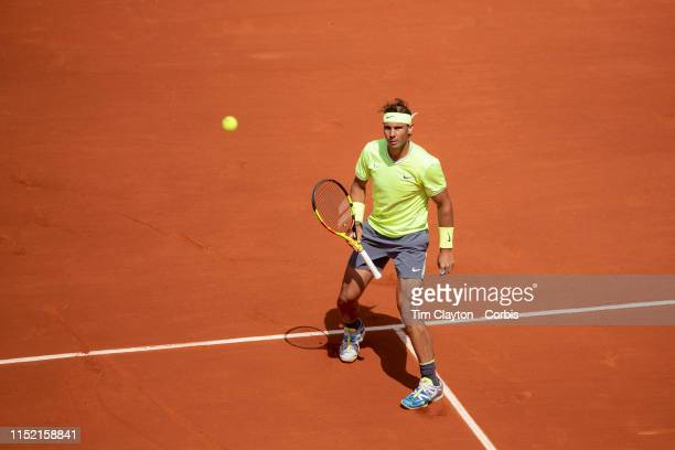 May 27 Rafael Nadal of Spain in action against Yannick Hanfmann of Germany on Court PhilippeChatrier in the Menu2019s Singles first round match at...