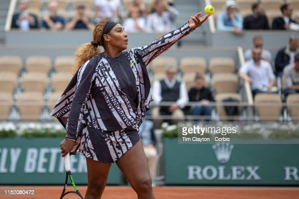 May 27. Serena Williams of the United States warming up before her match against Vitalia Diatchenko of Russia on Court Philippe-Chatrier in the...