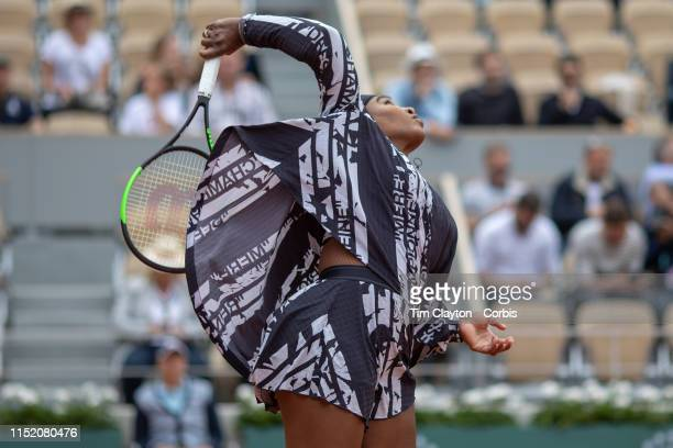 May 27 Serena Williams of the United States warming up before her match against Vitalia Diatchenko of Russia on Court PhilippeChatrier in the...