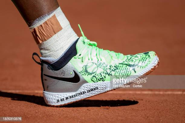 May 27. The tennis shoes of Serena Williams of the United States practicing on Court Philippe-Chatrier in preparation for the 2021 French Open Tennis...