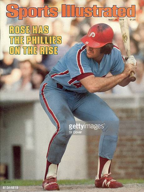 May 28 1979 Sports Illustrated Cover Baseball Philadelphia Phillies Pete Rose in action at bat vs Chicago Cubs Chicago IL 5/16/1979