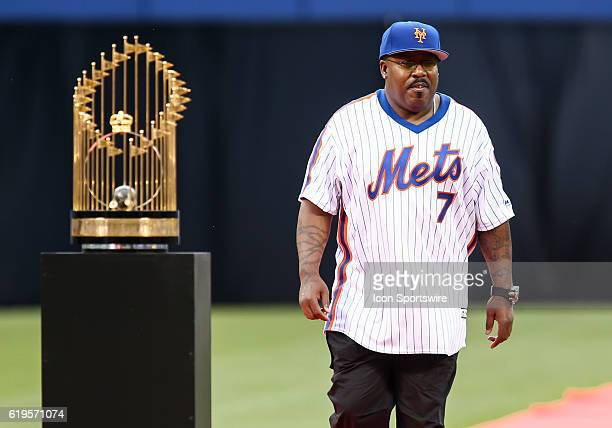 1986 New York Mets outfielder Kevin Mitchell is introduced during a celebration in honor of the 30th anniversary of the 1986 Mets World Series...
