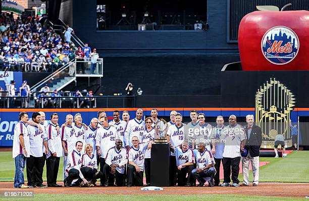 Members of the 1986 New York Mets are pictured during a celebration in honor of the 30th anniversary of the 1986 Mets World Series Championship prior...