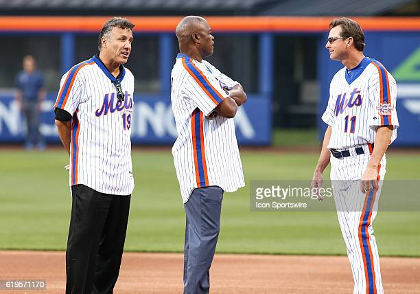 Members of the 1986 New York Mets Bob Ojeda Rafael Santana and Tim Teufel talk during a celebration in honor of the 30th anniversary of the 1986 Mets...